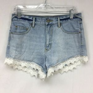 Free People Light Wash Scallop Lace Trim Shorts